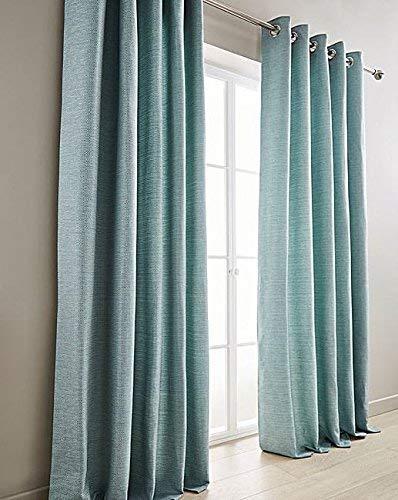 Tessuto Blu 90   x 72   Foderate Anello Superiore Curtains & 2 x Copricuscino