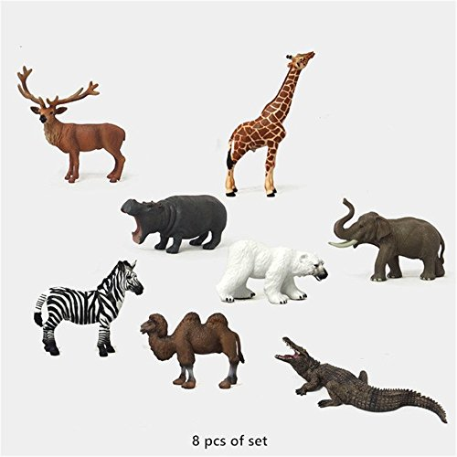 8 Piece Wildlife Animals Action Figures, Small Plastic Realistic Wild Animals Action Model Toys Set For Children Kids Gift(Including Crocodile, Elephant, Elk, Giraffe, Hippo, Polar Bear, Zebra