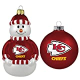 NFL Kansas City Chiefs 2-Pack Snowman and Ball Ornament Set
