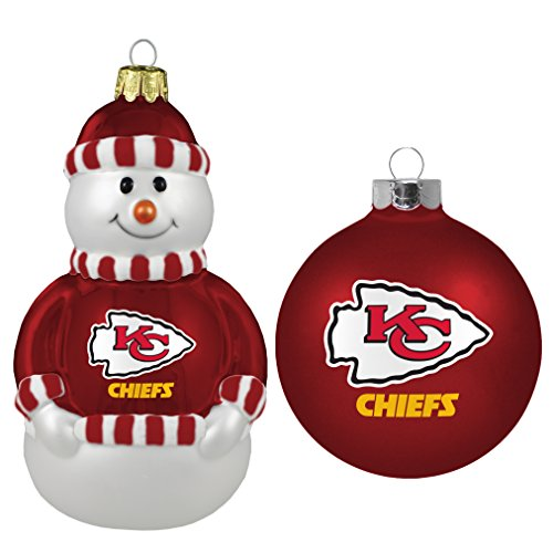 NFL Kansas City Chiefs 2-Pack Snowman and Ball Ornament Set Nfl Football Snowman Ornament