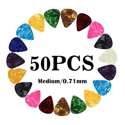 - Guitar Picks Medium Gauge Assorted Pearl Variety Sampler Pack Celluloid - 50 Pcs Colorful - Plectrums for Gift Acoustic Guitar, Bass and Electric Guitar - 0.71mm