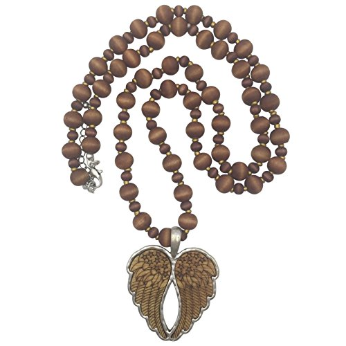 Long Wood Beaded Necklace (Heart Angel Wings)