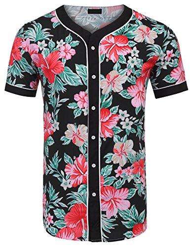 loral Shirt Print Hip Hop Button Down Baseball Jersey Shirts ()