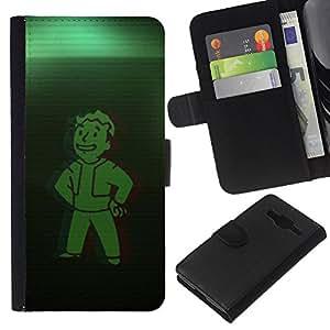 Bóveda Verde Boy - la tarjeta de Crédito Slots PU Funda de cuero Monedero caso cubierta de piel Para Samsung Galaxy Core Prime