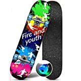 Flash Wheel Skateboard High Smooth High Endurance Skateboard High Speed Silent Skateboard (Color : Graffiti)