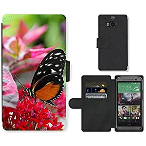 Hot Style Cell Phone Card Slot PU Leather Wallet Case // M00110776 Flower Butterfly Wildflower Insect // HTC One M8