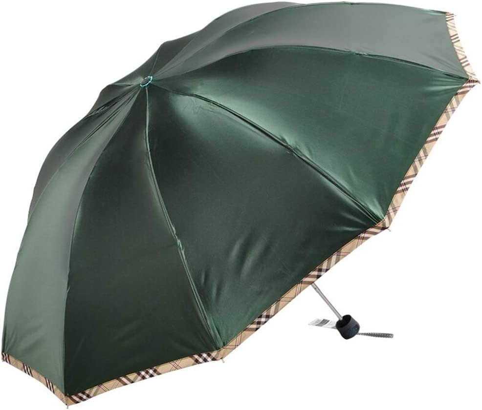 Paradise Umbrella Black Gum Rainproof and Sunscreen Umbrella,48 Inch Thicken Large Three Folding Sunshade Umbrellas for Men and Women UV Protection Green