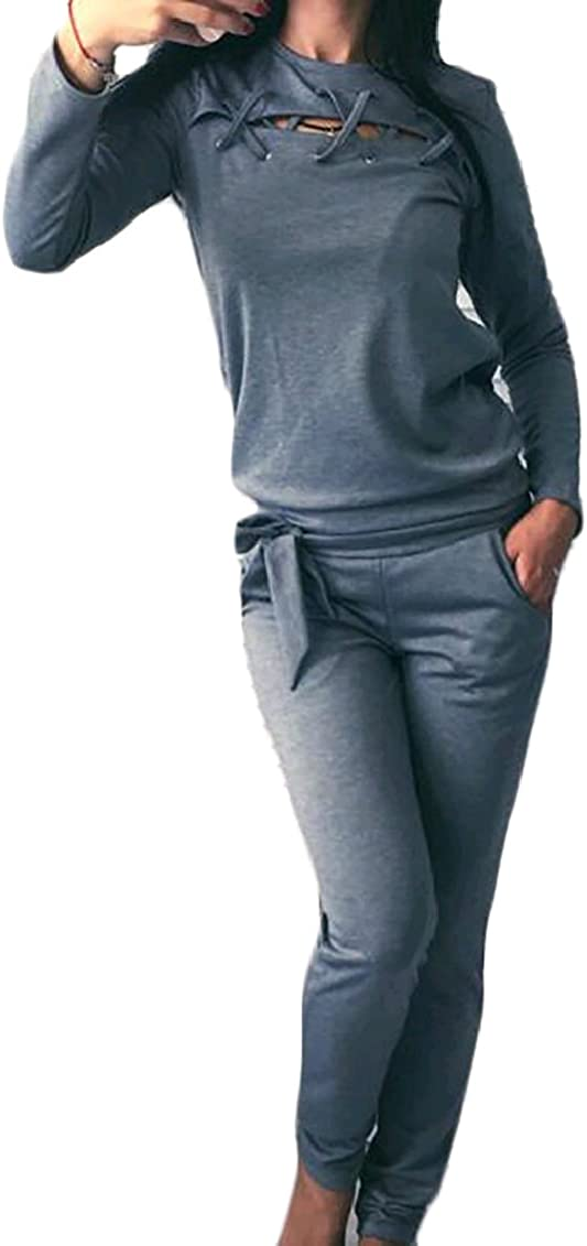 KaWaYi Womens Hollow Out Casual Weekend Slim Long Sleeve 2-Piece Pullover Top Pants Tracksuits