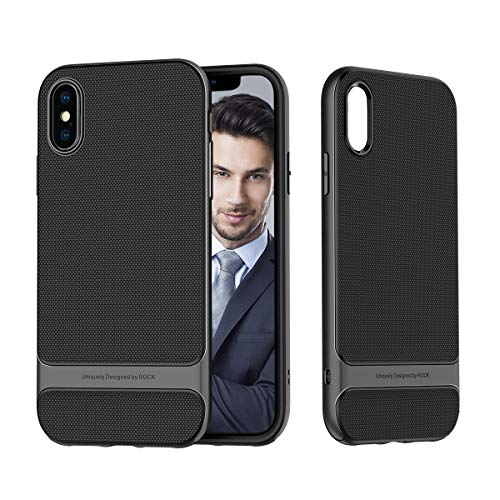 ROCK SPACE Case for iPhone Xs Max, [Royce] [Hard PC + Soft TPU] Ultra Thin Heavy Duty Metal Texture Side Buttons Dual Layered Slim Fit Phone Cover for XS Max 6.5