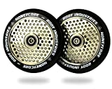 120mm Honeycore Pro Stunt Trick Kick Scooter Wheels (Pair) - Fast Hollowcore - Push Scooter Tires - 120mm Freestyle Speed Urethane - Fit Most Setups - 24mm x 120mm - Bearings (Black/Mirror)