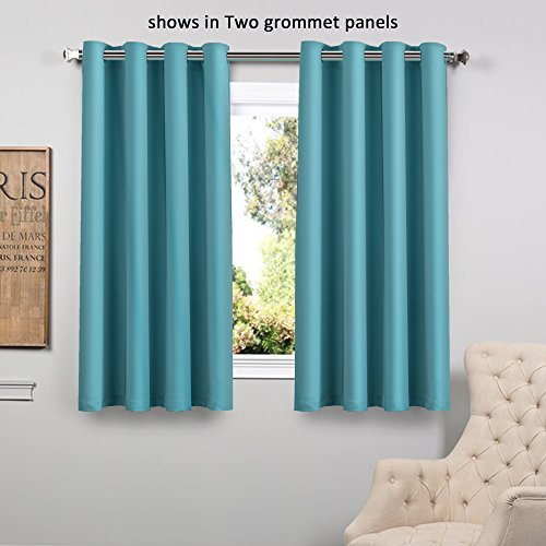 FlamingoP Blackout Ultimate Performance Solid Pattern Drape, Thermal Insulated, Grommet Top, One Panel 63 by 52 inch (Grommet Aqua Curtains)
