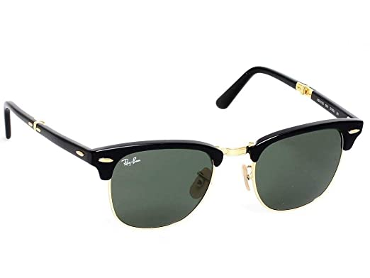 cd83e73d1da Image Unavailable. Image not available for. Color  Ray Ban Clubmaster  Folding RB2176 901 51-21 Sunglasses Black Frame Crystal Green Solid Lenses