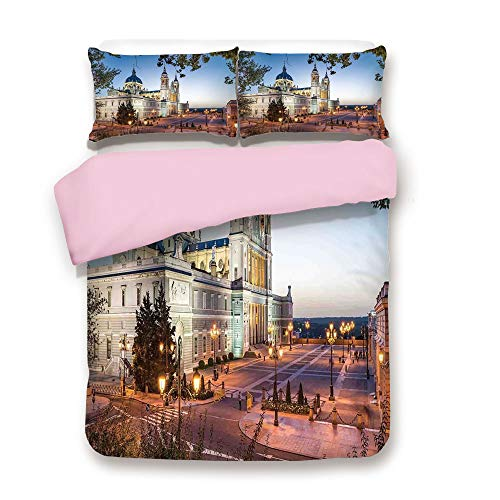 Pink Duvet Cover Set,Twin Size,Old Cathedral and Royal Palace in Madrid Mediterrenean Mod City Europe Urban Print,Decorative 3 Piece Bedding Set with 2 Pillow Sham,Best Gift For Girls Women,Multi