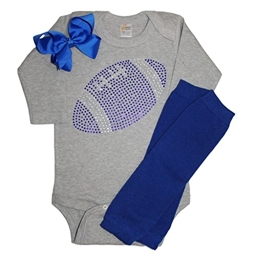 FanGarb Baby Girl's Grey & Blue Football Team Colored Rhinestone Grey Outfit 3-6mo]()