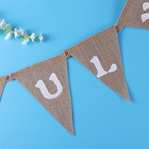 LUOEM 4th of July Banner JULY FOURTH Linen Flag Bunting Banner Hanging Garland Decorations for American Independance Day