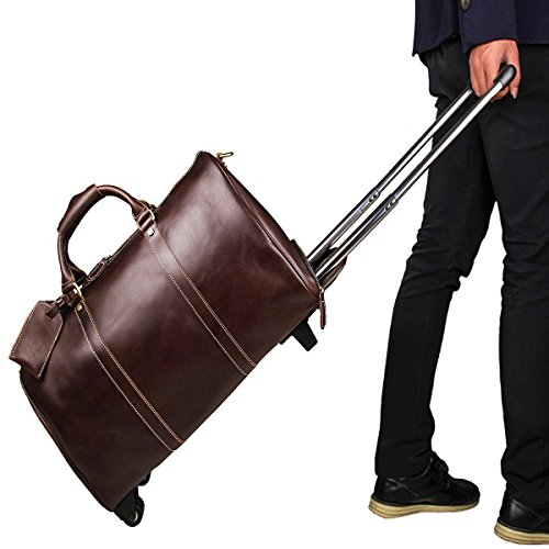 Wholesale Designer Inspired Handbags - Men's Large Genuine Leather Travel Wheeled Duffle Luggage Carry On Rolling Holdall Weekend Bag