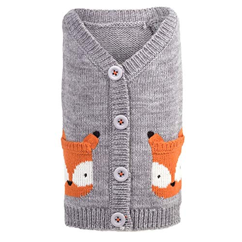 The Worthy Dog Fox Cardigan for Dogs, X-Small, Gray