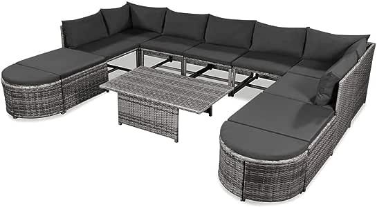 festnight Juego de sofá de jardín 22 pcs muebles de jardín (resina trenzada gris con cojín: gris oscuro: Amazon.es: Hogar