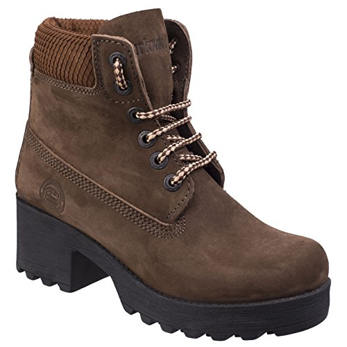 Boots Womens Beige Walking Darkwood Ankle Pine Water Resistant Ladies Heeled SznnF8qdw