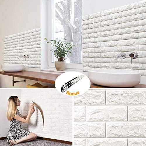 20Pcs Brick Wall Panels Peel and Stick Self-Adhesive 3D Foam Stone Textured White Faux Wallpaper Tiles for Living- Bedroom TV Background Home Decor DIY - 116.26 sq.Feet & Premium 1pcs Utility Knife