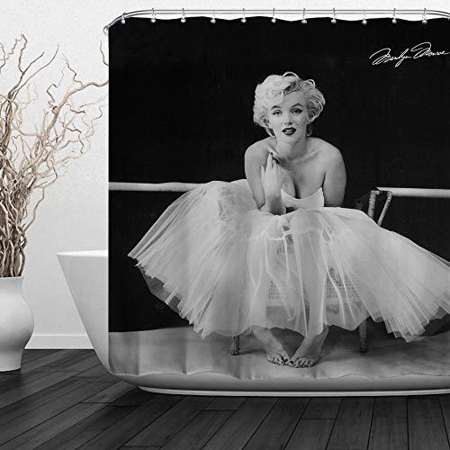 BACCESSOR Marilyn Monroe Shower Curtain Wearing Wearing White Dress Vintage Classic Movie Goddess Decor Waterproof Fabric, Anti-Mildew, Hooks Included, 60
