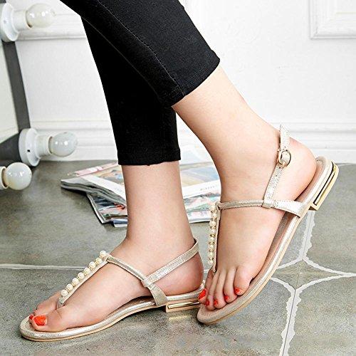 zapatos planos de Verano para Estudiantes perla clip de dedo del pie deslizan los zapatos de las sandalias de playa Gold