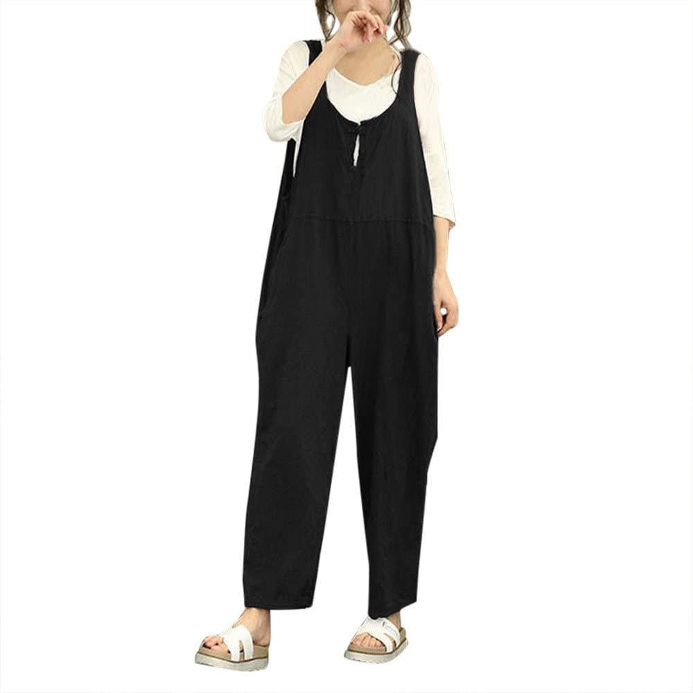 Womens Cargo Sleeveless Dungarees Loose Cotton Linen Long Playsuit Party Jumpsuit