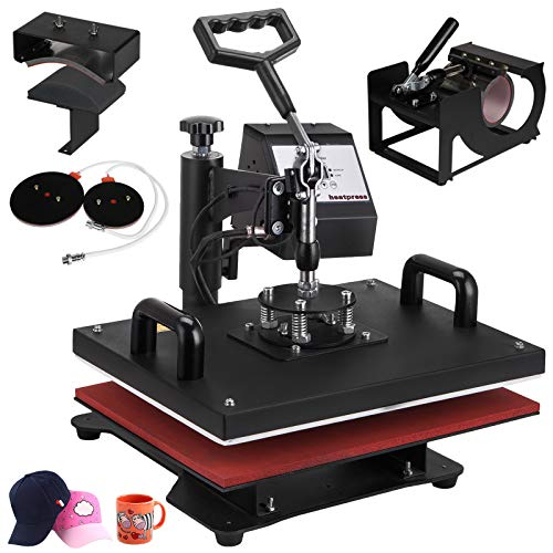 VEVOR 12 X 15 Inch 5 in 1 Heat Press Digital LCD Controller T Shirts Press Machine Swing Away Design Heat Press Machine Transfer Sublimation Hat Mug Cap Plate Mouse Pad(12x15INCH 5IN1 Red) ()
