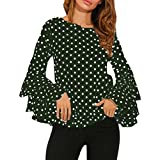 Fashion Women's Blouse Bell Sleeve Loose Polka Dot Shirt Ladies Casual Tops by Topunder