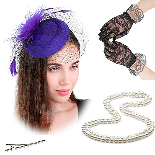 (Fascinators 20s 50s Hats for Womens,Cocktail Party Hat,Tea Party Wedding Headband,w/Pearl Necklace & Lace Gloves (One Size, 4-Purple))