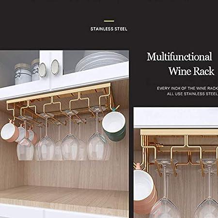 WLABCD Bar Bar Rack Restaurante Montado en la Pared Botella de Vino Taller, Rack de Copa de Vino 2-En 1 Rack de Copa de Vino, Creatividad Colgando Stemwaret Rack Obterdo de Vidrior,5 Filas (60 Cm)