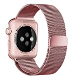 (US) top4cus 38mm Milanese Double Electroplating Fully Magnetic Closure Clasp Mesh Loop Stainless Steel iWatch Band Replacement Bracelet Strap for Apple Watch Band All Model 38mm Series 1 and 2 - Rose Gold