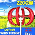 2200W 12V 24Volt 4 Blades Vertical Axis Lantern Wind Turbine Generator + Wind Controller Gift Fit for Home ights Or Boat