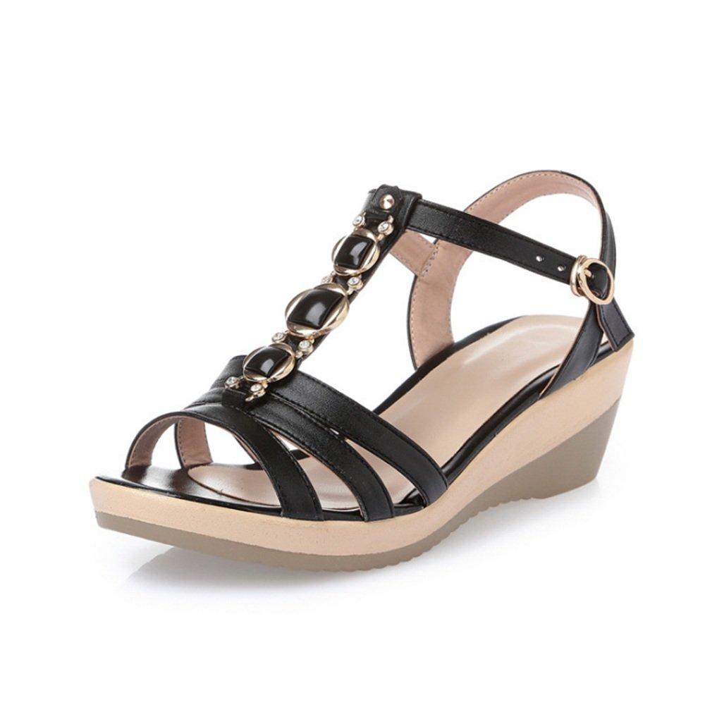 Femmes Summer Summer Noir Beach Sandals Bohème Waterdrop Slipper Wedges : Mi-Talon Chaussures en Cuir Noir Chaussures (Couleur : Noir, Taille : 40 EU) Noir a8c64ae - robotanarchy.space
