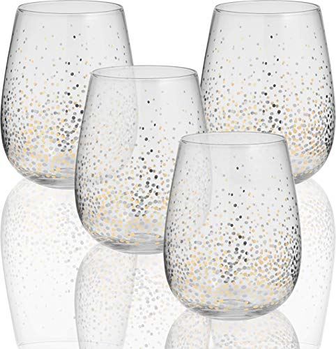 Circleware 76823 Gold Confetti Stemless Wine Glasses, Set of 4, Drinking Glassware for for Water, Juice, Beer, Liquor and Best Selling Kitchen & Home Decor Bar Dining Beverage Gifts, 18.5 oz -