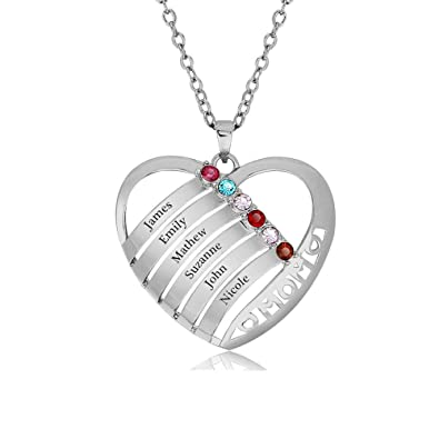 abbb90ff8 Amazon.com: Lam Hub Fong Personalized Mothers Necklace 6 Simulated ...
