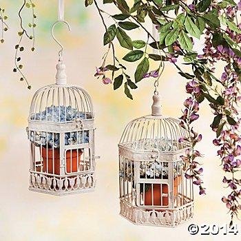 Hermoso blanco árbol jaula de pájaro - decoración 2 jaulas de ...