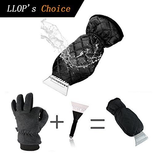 LLOP Ice Scraper Mitt for Car Windshield Snow Scrapers with Waterproof Glove Lined of Thick Fleece (Black) (Black)