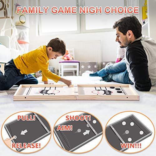 Toydaze Foldable Fast Sling Puck Game Extra Large Size, Double-Sided Sling Foosball & Shuffleboard/Curling 3 Games in 1, Foosball Winner Board Game Tabletop Foosball Slingshot Air Hockey Family Games
