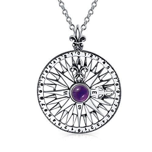 Amethyst Gemstone Fleur De Lis Rose Compass Pendant Necklace For Men For Women 925 Sterling Silver February - Circle Journey Stone Pendant
