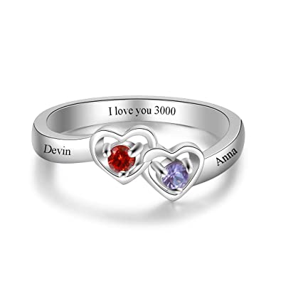 6bdfac77edd75 Luolajewelry Personalized 2 Simulated Birthstone 2 Names Heart Rings for  Women Engagement Promise Cubic Zirconia Ring