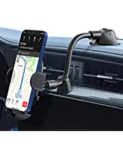 iSeneo Phone Holder for Car, Car Phone Holder, Long Arm Dashboard Windshield Car Phone Mount, Strong Sticky Gel Suction Cup, Compatible iPhone 12/11 pro/11 pro max/XS/XR/X/8/7,Galaxy and More