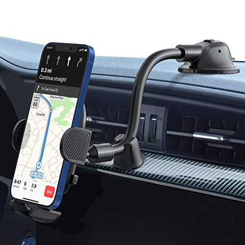Dashboard Phone Holder, iSeneo Car Phone Mount, Cell Phone Car Mount with Long Flexible Gooseneck, Compatible with iPhone 12 Mini 12 Pro Max 11 Pro Max XS XR, Galaxy Note 20 S20 S10 and More