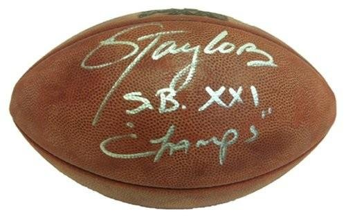 Signed Lawrence Taylor Ball - Authentic Super Bowl 21 SB XXI Champs - Autographed Footballs ()