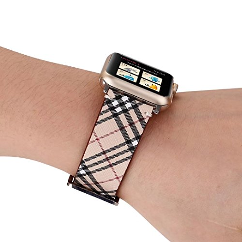TCSHOW for Apple Watch Band 42mm,42mm Soft PU Leather Pastoral/Rural Style Replacement Strap Wrist Band with Silver Metal Adapter for Apple Watch Series 3/2/1(Not for Apple Watch 38mm) (Z8) by MeShow (Image #5)