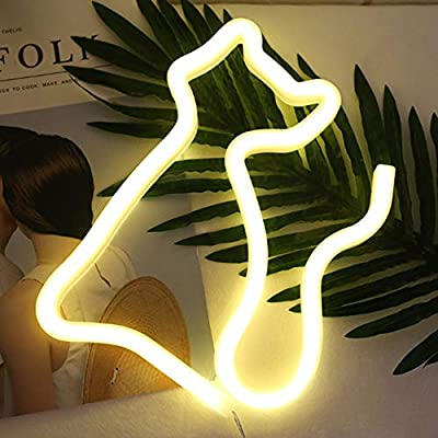Cat Neon Sign LED Neon Light Decorative Art Wall Decor for Children Baby Room Living Room Wedding Christmas Birthday Party Decor (Warm White): Home Improvement