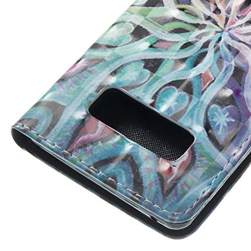 Note 8 Leder Hülle,Galaxy Note 8 Bookstyle Ledertasche, Aeeque Luxuriös 3D Glitzer Bling [einzigartig Schädel Blume Muster] Kartenfächer Standfunktion Brieftasche Handytasche für Samsung Galaxy Note 8 Bunte Muster #16