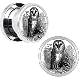 Stainless Steel Black and White Owl Screw Fit Plug Pair 00 Gauge