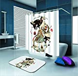 SARA NELL Shower Curtain Goth Gotik Gothic Women Girl Animal Waterproof Polyester Fabric Shower Curtain (72'' X 72'') Set 12 Hooks Bath Mats Rugs (23.6'' X 15.7'') Bathroom-Set Of 2