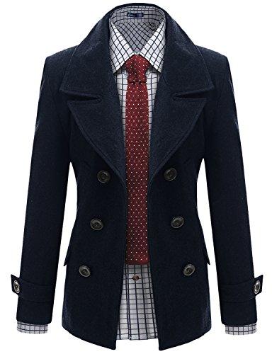 Doublju Men Wool Classic Pea Coat Winter Coat, Navy, S